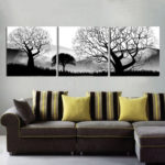 3 panel Black and white landscape tree Art canvas Canvas Pictures Wall decor