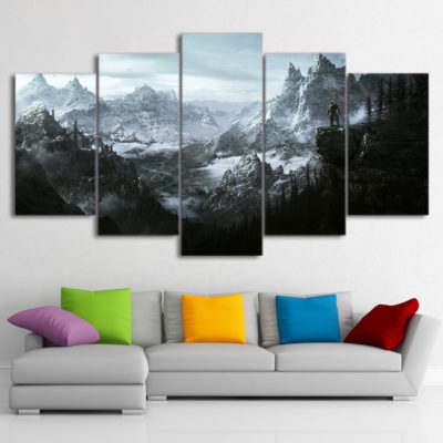 HD 5 piece canvas painting the elder scrolls v skyrim Canvas Pictures Wall decor